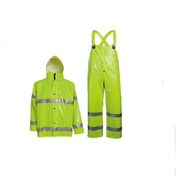 Heavy Duty PVC rainsuit in hi-vis color