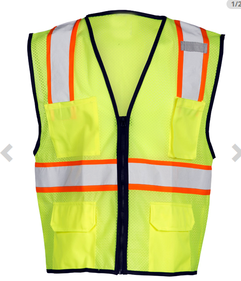 Hi Vis Reflective ANSI PPE Surveyor Class 2 Safety Vest