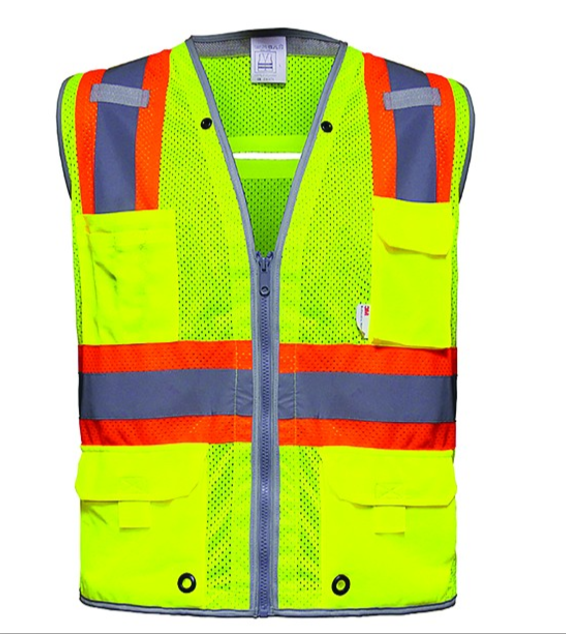 Multi-pocket surveyor high viz vest with 3M reflective material