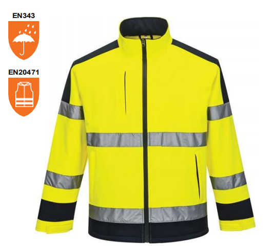 Men's Hi-Vis Visibility Soft-shell Jacket Safety Work-wear EN ISO20471 Class 3