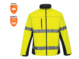 Breathable polyester Hi Visibility Soft Shell Jacket